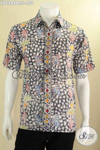 Kemeja Batik Gaul Lengan Pendek Khas Kawula Muda, Baju Batik Solo Kekinian Untuk Tampil Rapi Dan Trendy [LD12844C-L]