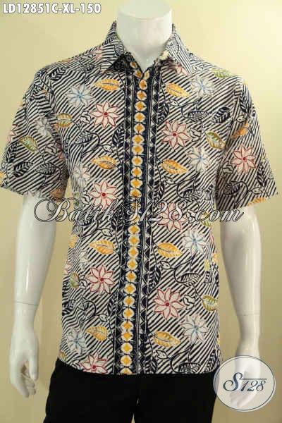 Baju Batik Kantoran Pria Lengan Pendek Khas Jawa Tengah, Kemeja Batik Modern Motif Terkini Jenis Cap Untuk Penampilan Terlihat Fresh Dan Gagah [LD12851C-XL]