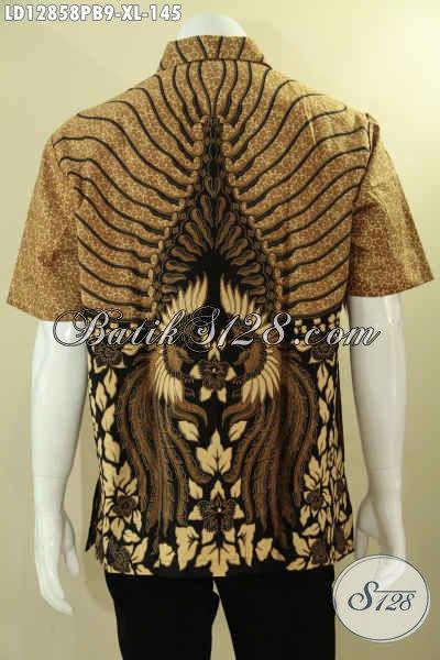 Baju Batik Lengan Pendek Pria Kwalitas Istimewa, Busana Batik Solo Motif Terbaru Jenis Print Cabut Mebuat Penampilan Tampan Dan Gagah [LD12858PB-XL]
