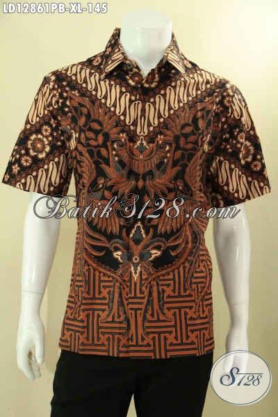 Baju Batik Solo Model Lengan Pendek Motif Elegan Dengan Sentuhan Klasik, Kemeja Batik Kwalitas Istimewa Cocok Untuk Acara Resmi Tampil Berkelas [LD12861PB-XL]