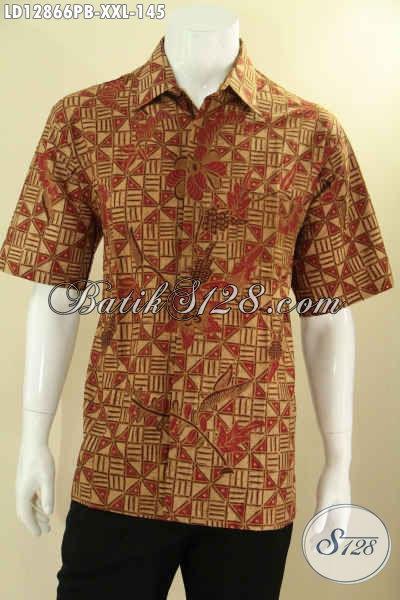 Kemeja Batik Solo Lengan Pendek Modis Untuk Kerja Dan Acara Santai, Busana Batik Pria Gemuk Kekinian Motif Trendy Hanya 100 Ribuan [LD12866PB-XXL]