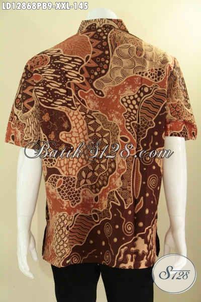 Produk Baju Batik Untuk Pria Gemuk Ukuran XXL, Kemeja Batik Solo Asli Motif Trendy Kwalitas Bagus Pilihan Tepat Untuk Tampil Gaya [LD12868PB-XXL]