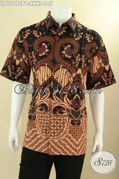 Baju Batik Pria Bagus Khas Jawa Tengah, Kemeja Batik Lengan Pendek Istimewa Spesial Untuk Yang Berbadan Gemuk Tampil Lebih Gagah Dan Berkelas Dengan Harga Terjangkau [LD12872PB-XXXL]