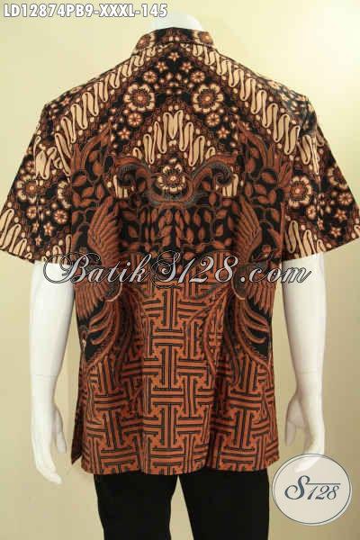 Busana Batik Pria Motif Elegan Asli Buatan Solo, Baju Batik Murah Kwalitas Mewah Model Lengan Pendek, Bisa Untuk Acara Resmi Dan Santai [LD12874PB-XXXL]