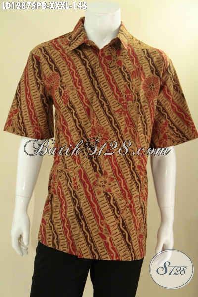 Batik Kemeja Pria Lengan Pendek Khas Jawa Tengah, Busana Batik Solo Terbaru Motif Bagus Berpadu Warna Elegan Dengan Bahan Halus Yang Nyaman Di Pakai [LD12875PB-XXXL]