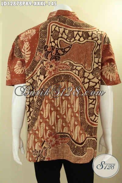 Jual Online Baju Batik Kekinian Kwalitas Istimewa Dengan Harga Biasa, Kemeja Batik Lengan Pendek Spesial Untuk Pria Gemuk Yang Menunjang Penampilan Lebih Keren [LD12878PB-XXXL]