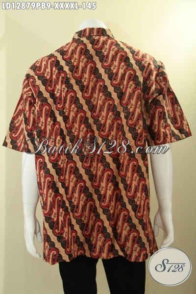 Baju Batik Kerja Untuk Pria Gemuk Sekali, Busana Batik Modis Bermotif Keren Dan Berbahan Halus Jenis Print Cabut, Kemeja Batik Solo Yang Bikin Penampilan Terlihat Kekinian [LD12879PB-XXXXL]