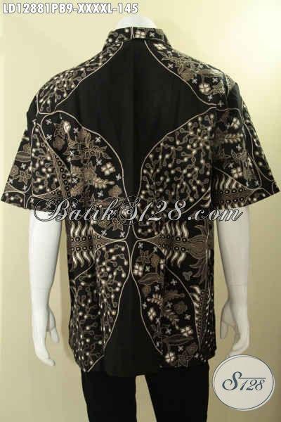 Kemeja Batik Motif Trend Masa Kini, Busana Batik Solo Asli Jenis Printing Cabut Model Lengan Pendek Spesial Untuk Pria Gemuk Sekali [LD12881PB-XXXXL]