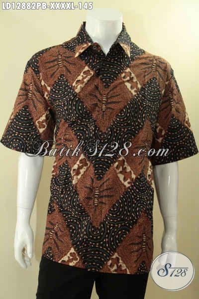 Olshop Pakaian Batik Solo Online Terlengkap, Jual Kemeja Batik Pria Gemuk Sekali Lengan Pendek Motif Modern Yang Modis Untuk Kerja Dan Acara Resmi Hanya 145K [LD12882PB-XXXXL]