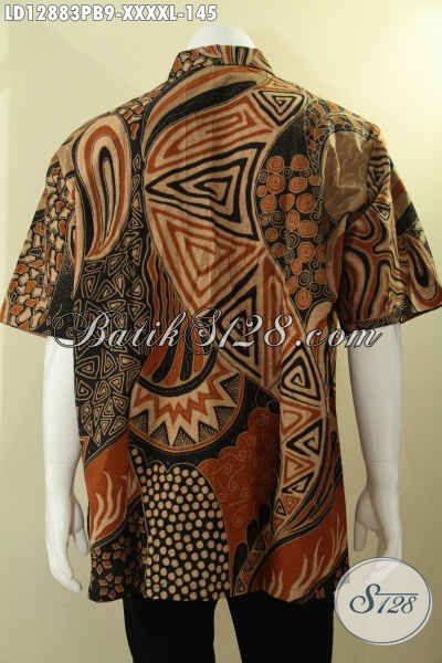 Koleksi Terkin Baju Batik Pria Lengan Pendek Khas Solo, Busana Batik Istimewa Motif Bagus Bahan Halus Eksklusif Untuk Yang Berbadan Gemuk Sekali [LD12883PB-XXXXL]