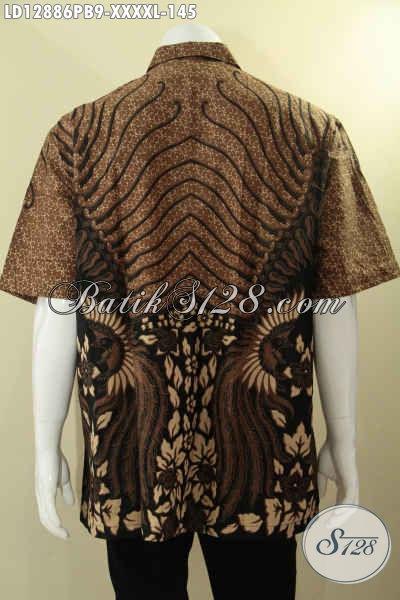 Jual Online Baju Batik Istimewa Untuk Pria Gemuk Sekali Ukuran L5, Pakaian Batik Modis Motif Elegan Berbahan Halus Yang Nyaman Di Pakai Aktivitas Harian [LD12886PB-XXXXL]
