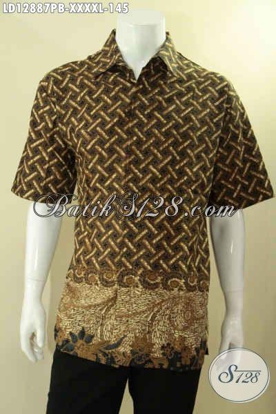 Juragan Batik Online Terlengkap Dan Terpercaya, Sedia Baju Batik Lengan Pendek Halus Motif Elegan Proses Printing Cabut Bahan Adem Spesial Untuk Pria Gemuk Sekali [LD12887PB-XXXXL]