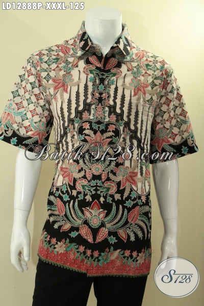 Kemeja Batik Solo Untuk Pria Gemuk Motif Mewah Desain Tren Masa Kini Lengan Pendek, Bisa Untuk Formal Dan Santai Tampil Terlihat Berkelas [LD12888P-XXXL]