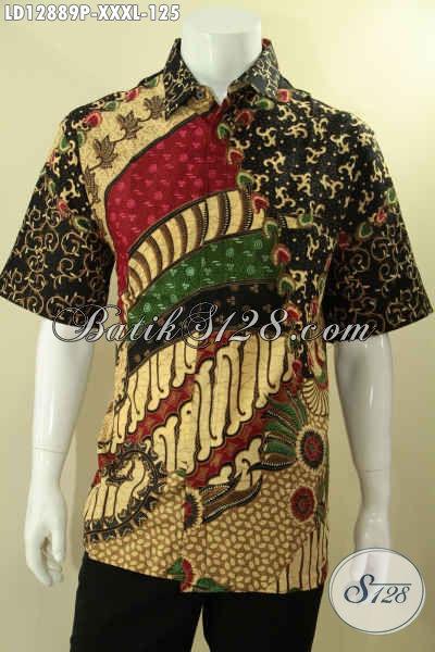 Koleksi Produk Kemeja Batik Terbaru, Baju Batik Istimewa Model Lengan Pendek Motif Mewah Khas Jawa Tengah Untuk Pria Gemuk Tampil Gagah [LD12889P-XXXL]