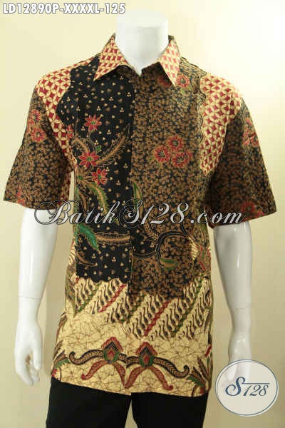 Koleksi Terbaru Pakaian Batik Pria Model Lengan Pendek Motif Mewah Dan Berkelas, Baju Batik Printing Khas Jawa Tengah Untuk Yang Berbadan Gemuk Sekali [LD12890P-XXXXL]