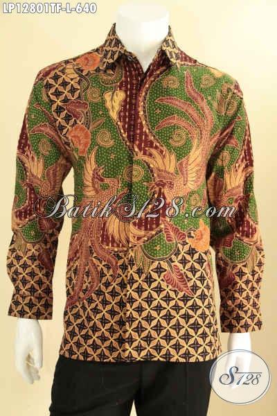 Olshop Baju Batik Premium Terlengkap, Sedia Kemeja Batik Tulis Asli Lengan Panjang Motif Mewah Desain Berkelas Daleman Full Furing, Tampil Gagah Berwibawa [LP12801TF-L]