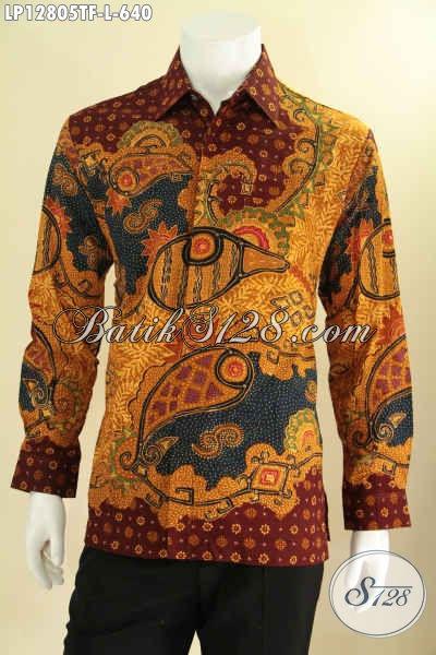 Koleksi Terkini Kemeja Batik Solo Tulis Model Lengan Panjang, Baju Batik Pria Muda Dan Dewasa Daleman Full Furing, Tampil Lebih Mewah Dan Percaya Diri [LP12805TF-L]