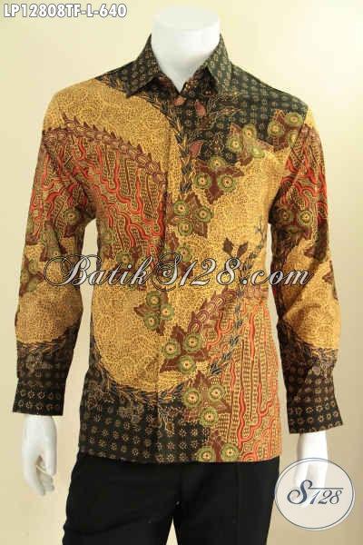 Kemeja Batik Pria Pas Buat Kondangan Maupun Acara Resmi, Baju Batik Tulis Lengan Panjang Mewah Pakai Furing, Bikin Penampilan Gagah Berkelas [LP12808TF-L]
