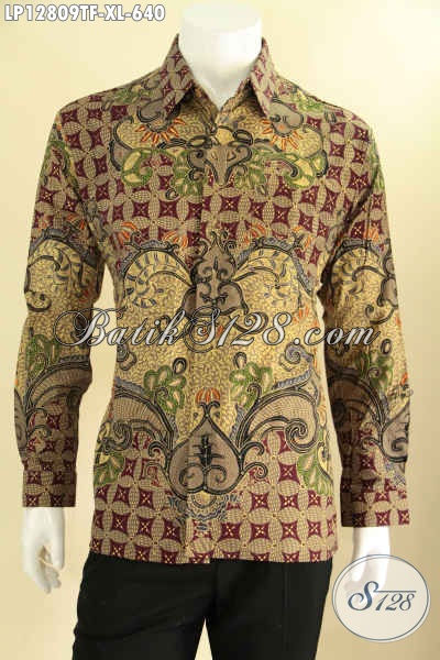 Produk Pakaian Batik Pria Lengan Panjang Motif Terbaru, Busana Batik Solo Asli Jenis Tulis Daleman Full Furing, Istimewa Untuk Kerja Maupun Rapat [LP12809TF-XL]