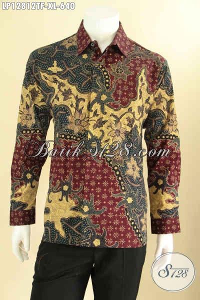 Pakaian Batik Solo Mewah Model Lengan Panjang, Busana Batik Istimewa Tulis Asli Desain Nan Berkelas Daleman Full Furing Yang Membuat Pria Terlihat Gagah Berwibawa [LP12812TF-XL]