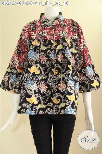 Produk Terbaru Busana Batik Wanita Buatan Solo Size L, Blouse Batik Lengan 7/8 Kerah Shanghai Kancing Depan Dual Motif, Bisa Untuk Santai Maupun Resmi [BLS9572C-L]