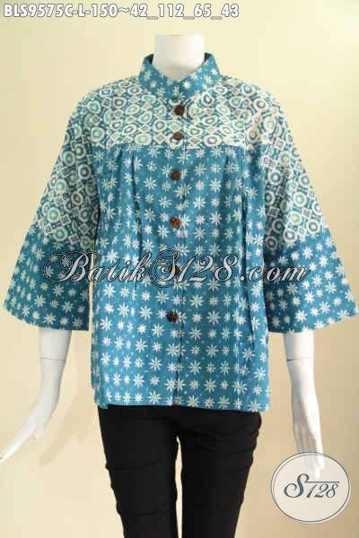 Produk Baju Batik Wanita Kekinian Model Kerah Shanghai Lengan 7/8, Blouse Batik Modern 2 Motif Pakai Kancing Depan, Pilihan Tepat Untuk Tampil Cantik Menawan [BLS9575C-L]