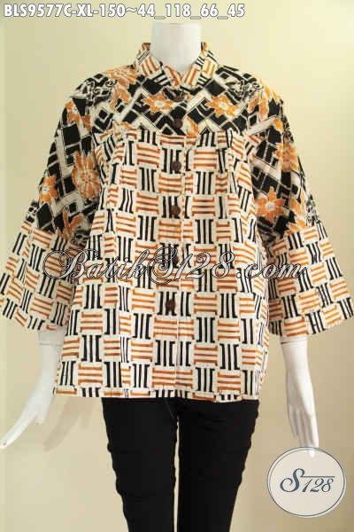 Blouse Batik Wanita Dewasa Untuk Kerja Kantoran Model Kerah Shanghai 2 Motif Kwalitas Istimewa Lengan 7/8 Di Lengkapi Kancing Depan [BLS9577C-XL]