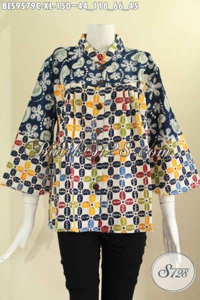 Toko Baju Batik Online Terlengkap Terpercaya, Sedia Blouse Kera Shanghai 2 Motif Pakai Kancing Depan Lengan 7/8, Pas Untuk Kerja Dan Jalan-Jalan [BLS9579C-XL]