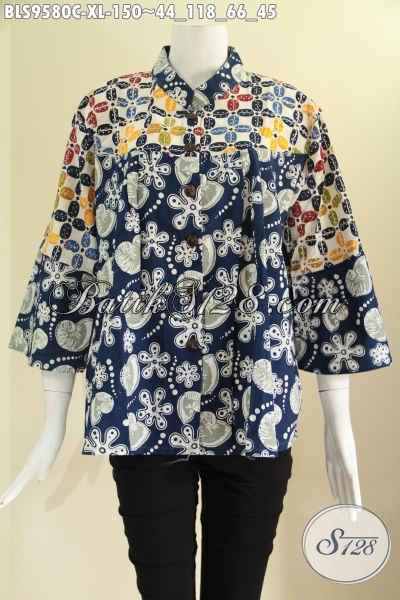 Baju Batik Kerja Trendy Dual Motif Lengan 7/8, Blouse Batik Wanita Masa Kini Model Kerah Shanghai Pakai Kancing Depan, Tampil Cantik Dan Gaya [BLS9580C-XL]