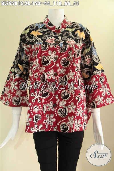 Jual Koleksi Busana Batik Wanita Terbaru, Baju Batik Modern Khas Solo Lengan 7/8 Kerah Shanghai 2 Motif Pakai Kancing Depan, Bikin Penampilan Lebih Mempesona [BLS9581C-XL]