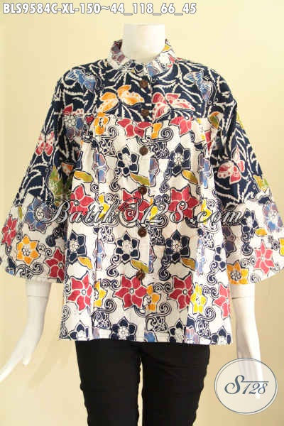 Produk Busana Batik Wanita Size XL Model Kerah Shanghai, Baju Batik 2 Motif Kancing Depan Lengan 7/8, Pilihan Tepat Untuk Seragam Kerja [BLS9584C-XL]