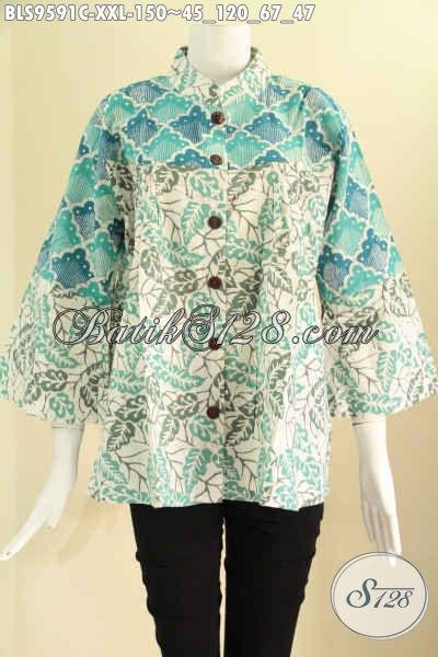 Jual Batik Blouse Solo Modis Kombinasi 2 Motif, Baju Batik Big Size XXL Untuk Wanita Gemuk, Model Kerah Shanghai Lengan 7/8 Pakai Kancing Depan Hanya 150K [BLS9591C-XXL]
