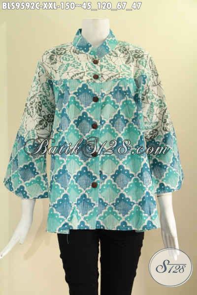 Produk Pakaian Batik Terkini Untuk Wanita Gemuk Size XXL, Cocok Untuk Kerja Maupun Acara Resmi Model Kerah Shanghai Lengan 7/8, Bahan Halus 2 Motif Pakai Kancing Depan [BLS9592C-XXL]