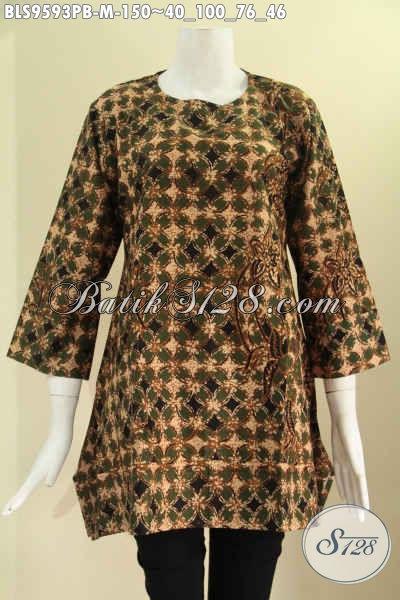 Atasan Batik Desain Modern Lengan 7/8, Baju Batik Wanita Model A Tanpa Krah Pakai Kancing 1 Di Belakang Motif Tren Masa Kini [BLS9593PB-M]