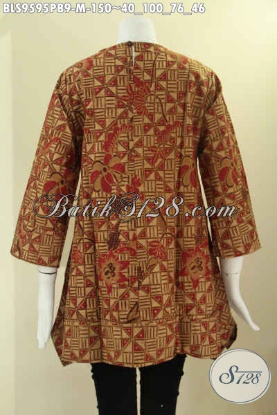 Baju Batik Wanita Motif Elegan Khas Solo, Blouse Batik Modern Model A Di Lengkapi Kancing 1 Di Belakang Lengan 7/8 Tanpa Krah, Pas Untuk Seragam Kerja [BLS9595PB-M]