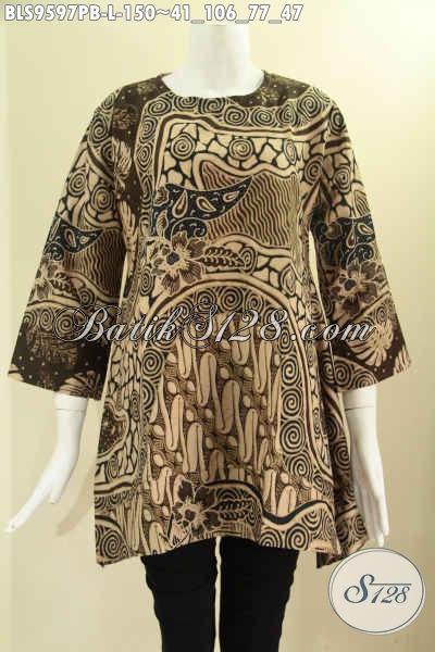 Pakaian Batik Solo Tren Terbaru Yang Menunjang Penampilan Wanita Lebih Cantik Dan Anggun, Bahan Halus Motif Elegan Model A Tanpa Krah Lengan 7/8 [BLS9597PB-L]