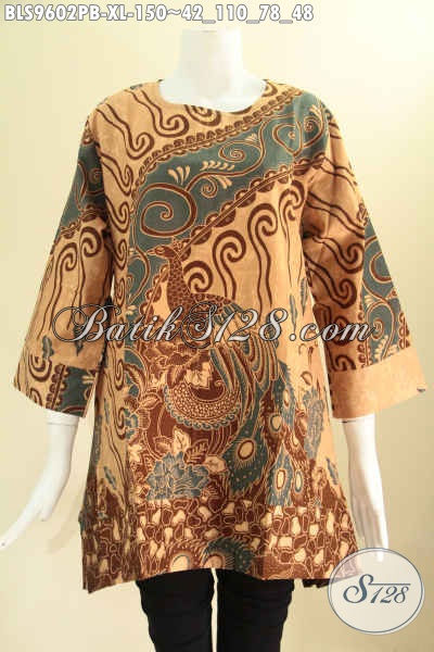 Baju Batik Atasan Wanita Modern Model A Tanpa Krah, Busana Batik Blouse Modis Kancing 1 Di Belakang Lengan 7/8, Tampil Cantik Bergaya [BLS9602PB-XL]