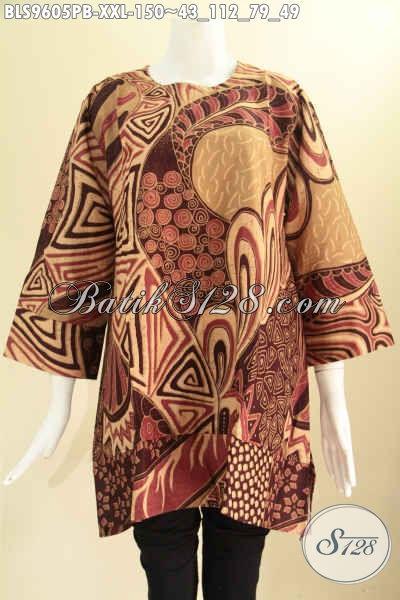 Baju Batik Blouse Solo Tren Masa Kini, Busana Atasan Wanita Gemuk Model A Tren Masa Kini Motif Elegan Lengan 7/8 Tanpa Krah, Bisa Untuk Resmi Maupun Santai [BLS9605PB-XXL]