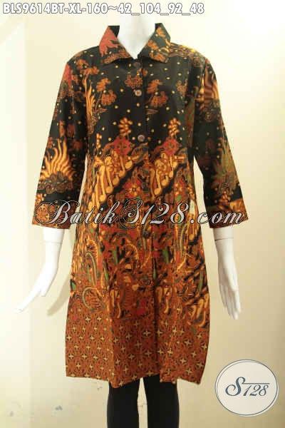 Produk Baju Batik Atasan Untuk Wanita Motif Elegan Khas Solo, Blouse Batik Tren Masa Kini Model Krah Kancing Depan Lengan 7/8, Tampil Makin Menawan [BLS9614BT-XL]