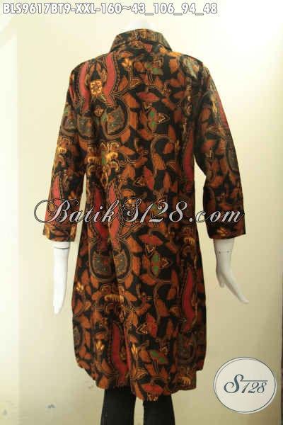 Koleksi Baju Batik Wanita Gemum Nan Elegan Dan Berkelas Cocok Untuk Acara Resmi Dan Seragam Kerja, Model Krah Kancing Depan Lengan 7/8 [BLS9617BT-XXL]