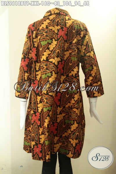 Baju Batik Wanita Gemuk Elegan Kwalitas Istimewa, Blouse Batik Solo Modis Model Krah Kancing Depan Lengan 7/8, Pilihan Tepat Untuk Kerja Dan Acara Resmi [BLS9618BT-XXL]