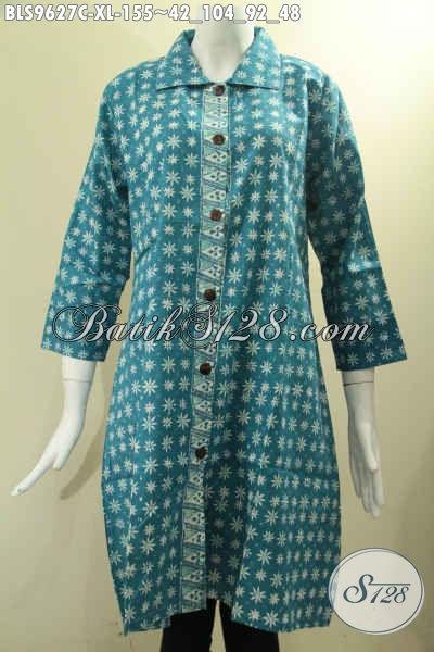 Koleksi Busana Batik Kerja Perempuan Masa Kini, Blouse Batik Model Krah Lengan 7/8, Baju Batik Modis Motif Tren Masa Kini Pakai Krah Untuk Penampilan Makin Gaya [BLS9627C-XL]
