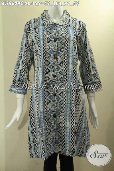 Jual Baju Batik Solo Nan Istimewa Spesial Untuk Kerja Maupun Acara Resmi, Model Krah Lengan 7/8, Blouse Batik Wanita Dewasa Pakai Kancing Depan Motif Terbaru [BLS9629C-XL]