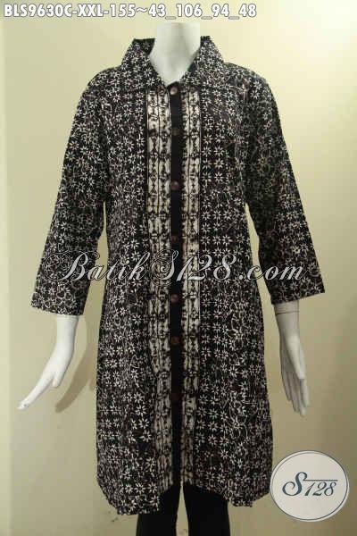 Baju Batik Wanita Tren Masa Kini Kwalitas Bagus Dengan Harga Terjangkau, Blouse Batik Jumbo Model Krah Kancing Depan Lengan 7/8, Spesial Untuk Yang Berbadan Gemuk [BLS9630C-XXL]
