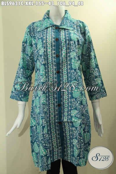 Koleksi Terbaru Busana Batik Wanita Untuk Kerja Dan Acara Santai, Pakaian Batik Modis Big Size XXL Model Krah Lengan 7/8 Di Lengkapi Kancing Depan, Tampil Makin Bergaya [BLS9631C-XXL]