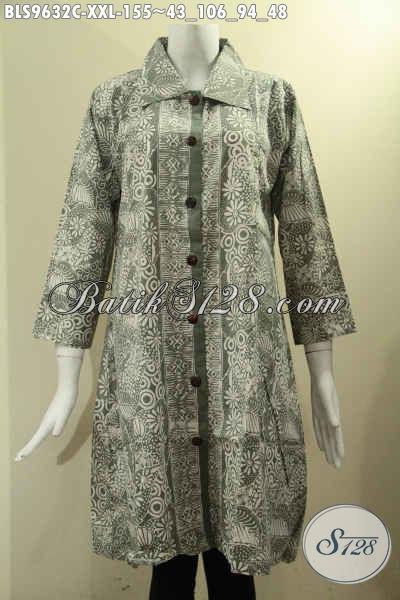 Pakaian Batik Istimewa Untuk Wanita Gemuk, Baju Batik Solo Asli Motif Keren Tren Masa Kini Model Krah Kancing Depan, Bahan Halus Lengan 7/8 Hanya 150K [BLS9632C-XXL]