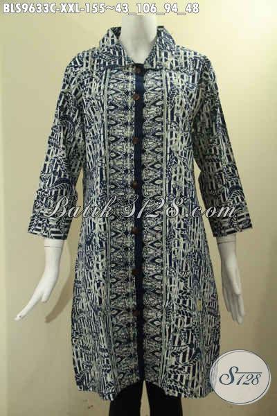 Pusat Baju Batik Online Khas Solo Kwalitas Istimewa, Sedia Blouse Batik Jumbo Untuk Wanita Gemuk Model Krah Motif Bagus Pakai Kancing Depan Lengan 7/8, Pilihan Tepat Untuk Seragam Kantor [BLS9633C-XXL]
