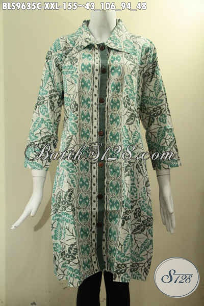 Baju Atasan Batik Wanita Gemuk Warna Elegan Motif Modern Klasik Jenis Cap, Blouse Batik Model Krah Kancing Depan Lengan 7/8, Bikin Penampilan Elegan Berkelas [BLS9635C-XXL]