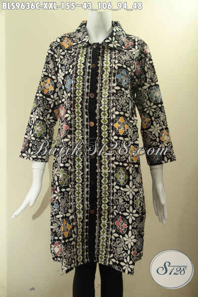 Baju Batik Kerja Wanita Gemuk Nan Modis Dan Berkelas, Hadir Dengan Model Krah Pakai Kancing Depan Lengan 7/8, Tampil Cantik Menawan [BLS9636C-XXL]