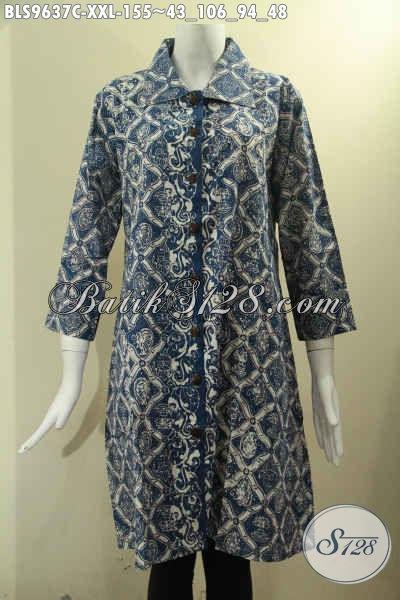Jual Pakaian Batik Wanita Khas Solo, Blouse Batik Cewek Gemuk Size XXL Model Krah Di Lengkapi Kancing Depan Lengan 7/8, Bikin Penampilan Lebih Cantik Bergaya [BLS9637C-XXL]